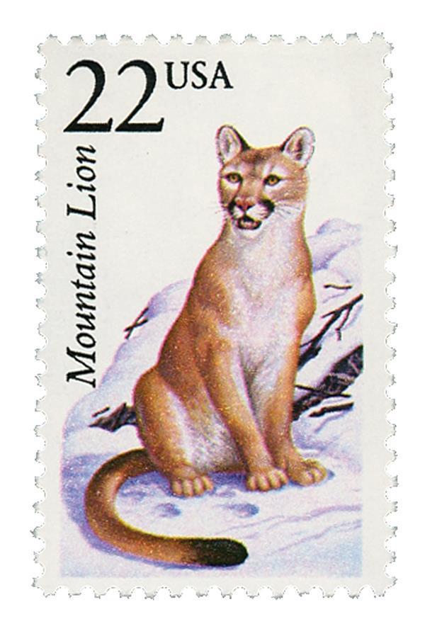 1987 22c North American Wildlife: Mountain Lion