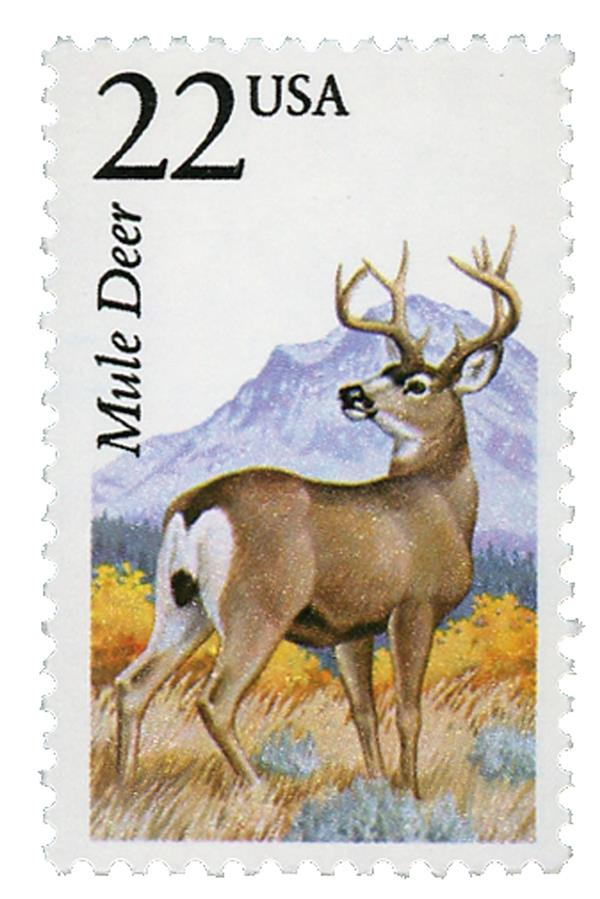 1987 22c North American Wildlife: Mule Deer