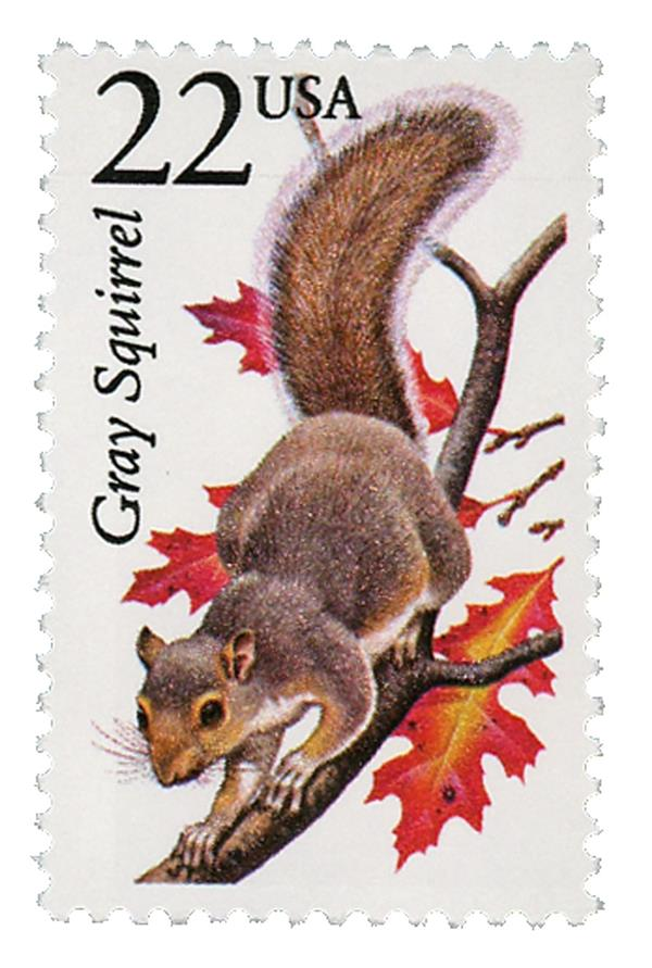 1987 22c North American Wildlife: Gray Squirrel