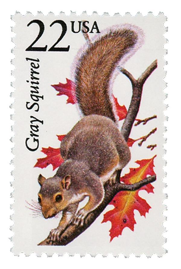 1987 22c North American Wildlife: Gray Squirrel