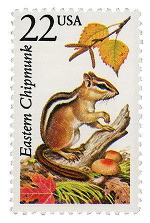 1987 22c North American Wildlife: Eastern Chipmunk