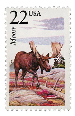 1987 22c North American Wildlife: Moose