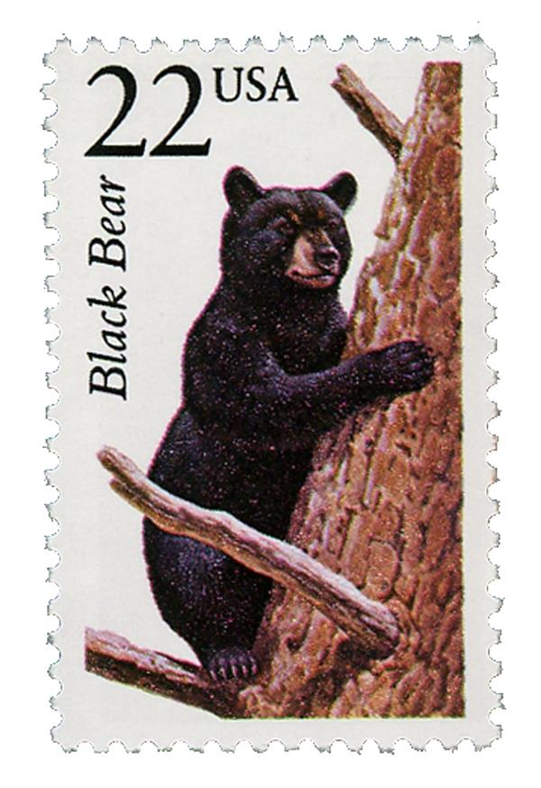 1987 22c North American Wildlife: Black Bear