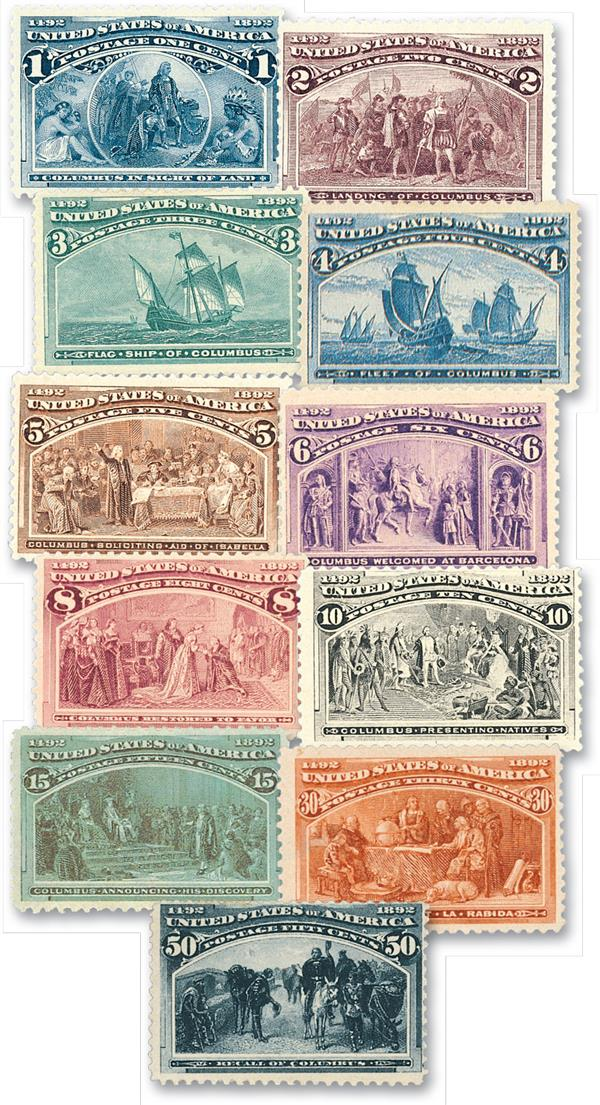 1893 Columbians, 11 stamps