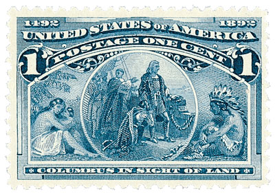 1893 1c Columbian Commemorative: Columbus in Sight of Land