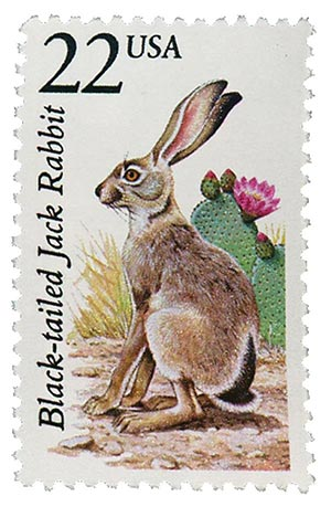 1987 22c North American Wildlife: Black-tailed Jack Rabbit