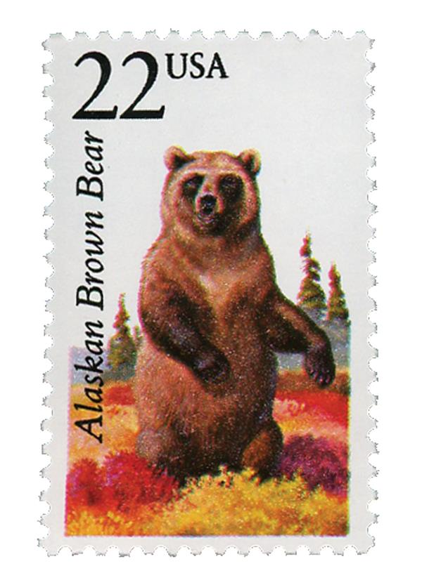 1987 22c North American Wildlife: Alaskan Brown Bear