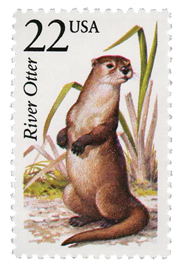 1987 22c North American Wildlife: River Otter