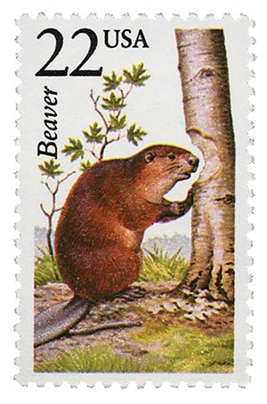 1987 22c North American Wildlife: Beaver
