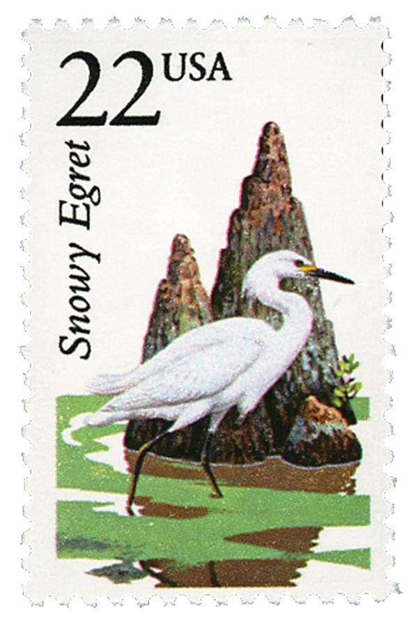 1987 22c North American Wildlife: Snowy Egret