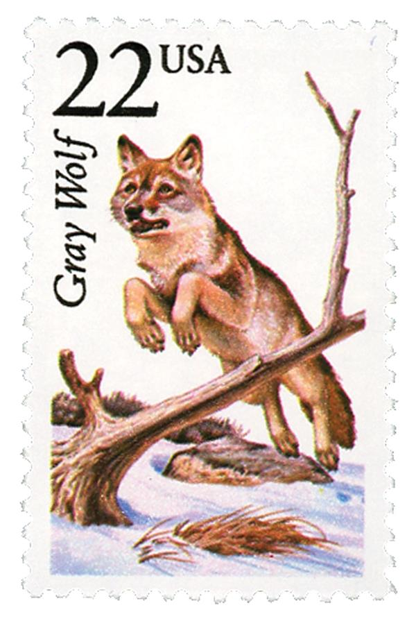 1987 22c North American Wildlife: Gray Wolf