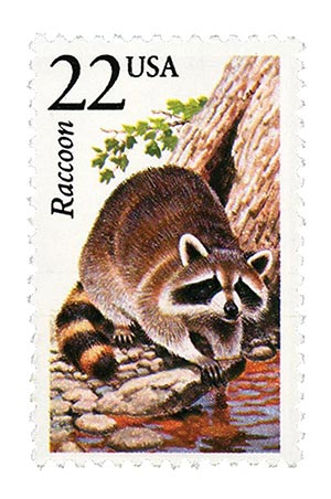 1987 22c North American Wildlife: Raccoon