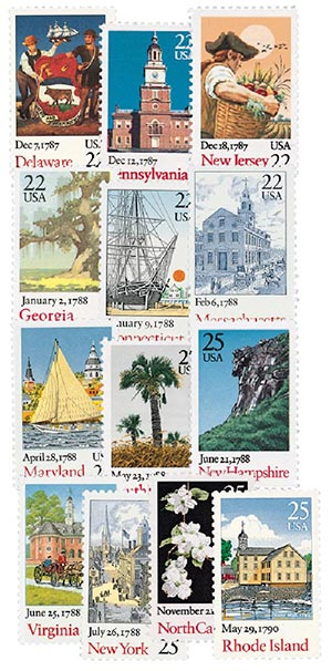 1987-90 Bicentenary Statehood, set of 13 stamps