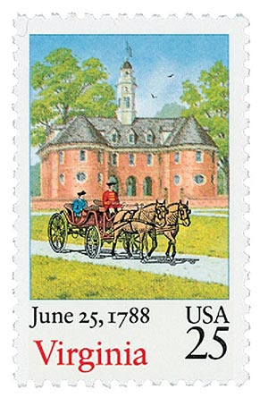 1987 25c Bicentenary Statehood: Virginia