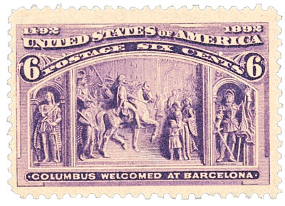 1893 6c Columbian Commemorative: Columbus Welcomed at Barcelona