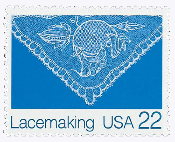 1987 22c Lacemaking: Squash Blossom (Design A)