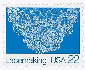 1987 22c Lacemaking: Floral (Design B)