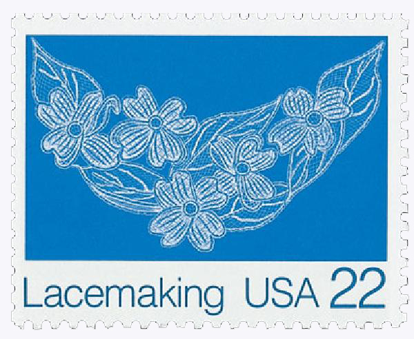 1987 22c Lacemaking: Dogwood Blossoms (Design D)