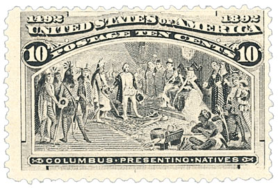 1893 10c Columbian Commemorative: Columbus Presenting Natives