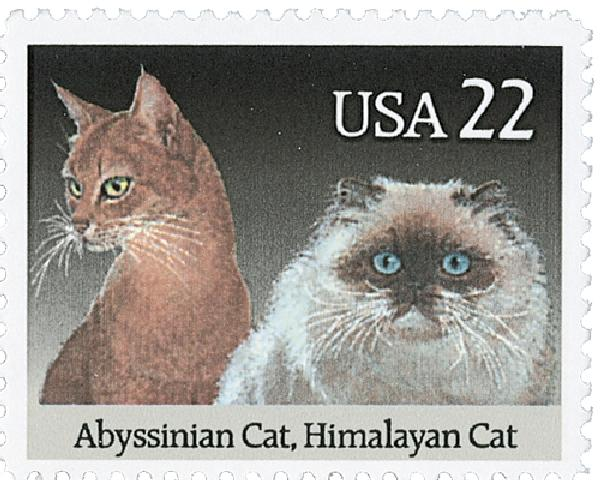 1988 22c Cats: Abyssinian and Himalayan