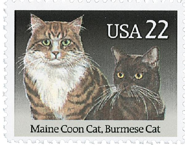 1988 22c Cats: Maine Coon and Burmese