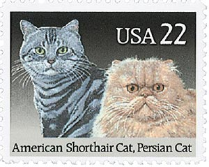 1988 22c Cats: American Short Hair and Persian