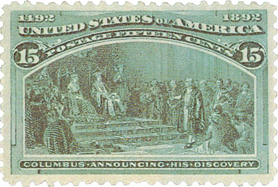 1893 15c Columbian Commemorative: Columbus Announcing His Discovery