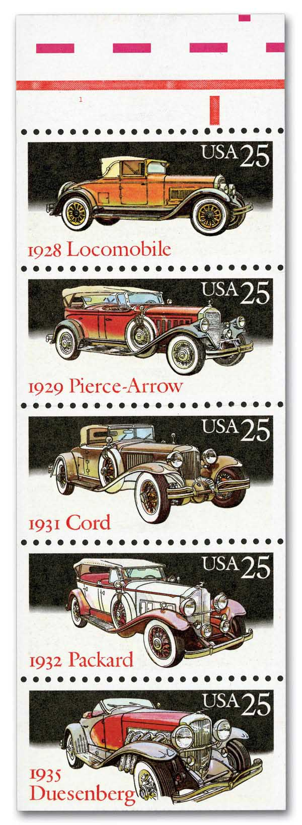 1988 25c Classic Cars, booklet pane of 5 stamps
