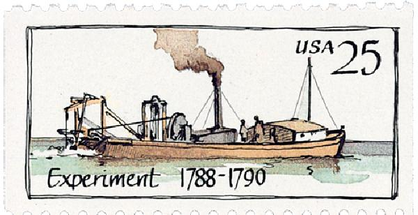 1989 25c Steamboats: Experiment 1788-1790