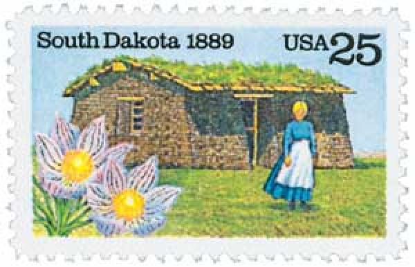 U.S. #2416 pictures a pioneer woman and sod house with the South Dakota state flower.