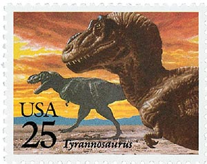 1989 25c Prehistoric Animals: Tyrannosaurus Rex
