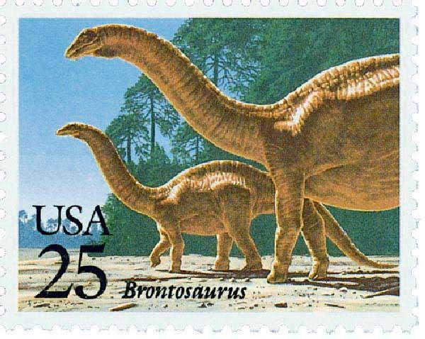1989 25c Prehistoric Animals: Brontosaurus