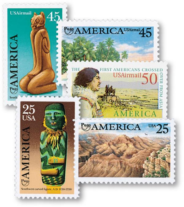 Pre-Columbian American Issues, collection of 5 stamps