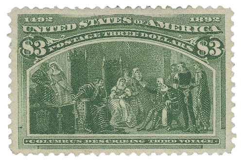 1893 $3 Columbian Commemorative: Columbus Describing Third Voyage
