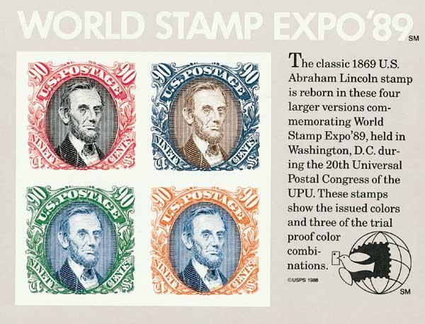 1989 90c World Stamp Expo 89, souvenir sheet