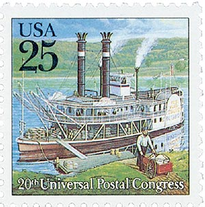 1989 25c Traditional Mail Delivery: Steamboat