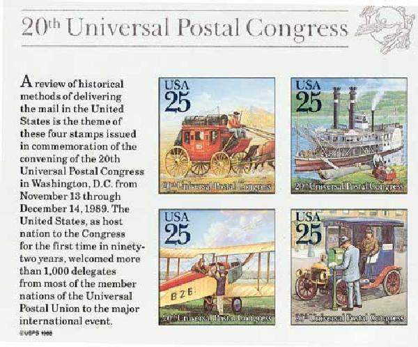 1989 25c Traditional Mail Delivery, souvenir sheet