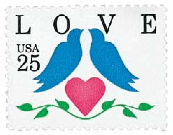 1990 25c Love Series: Love Birds