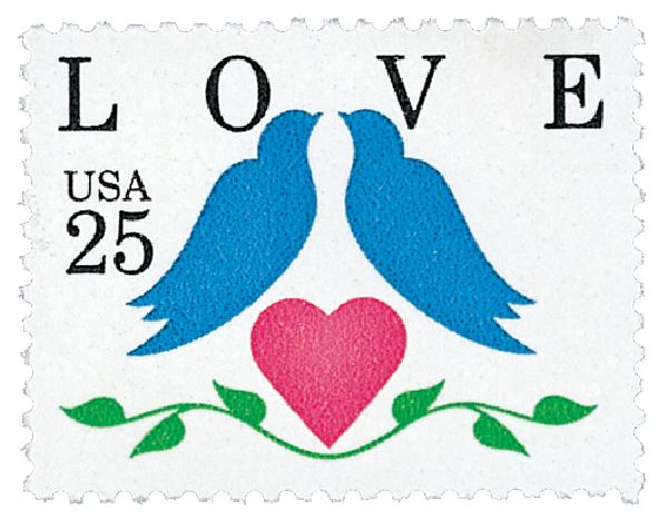 1990 25c Love Series: Love Birds, booklet single