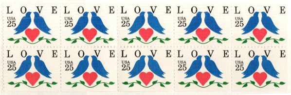 1990 25c Love Birds,bklt pane of 10