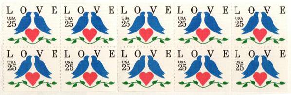 1990 25c Love Birds,bklt pane of 10