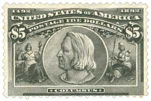1893 $5 Columbus, black