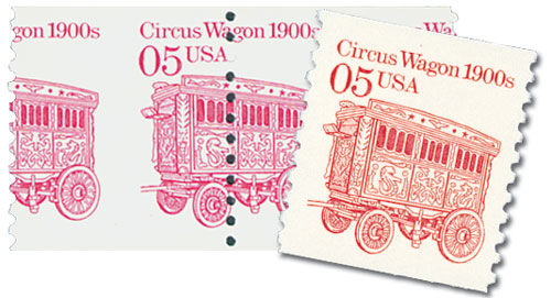 1990 5c Circus Wagon misperf & normal