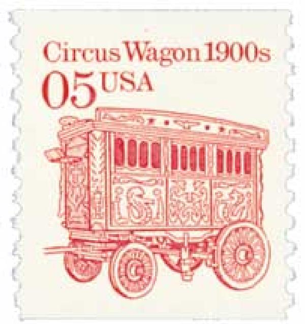 1990 5c Transportation Series: Circus Wagon 1900s (cream background)