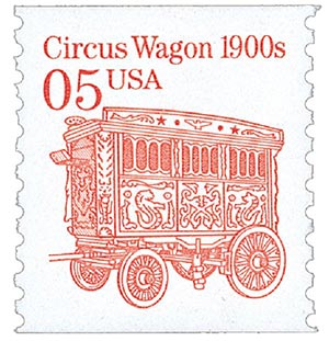 1992 5c Transportation Series: Circus Wagon 1900s (white background)