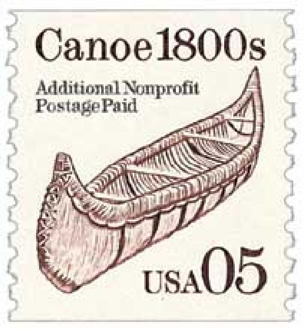 1991 5c Transportation Series: Canoe, 1800s, brown