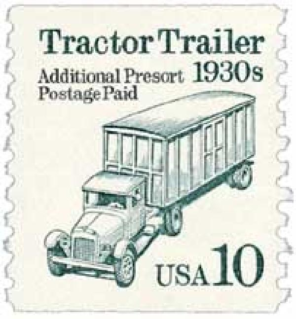 1991 10c Transportation Series: Tractor Trailer, 1930s (cream background)