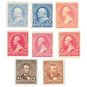 1894 1-5c Bureau of Engraving and Printing First Issues - Unwatermarked (8 stamps)