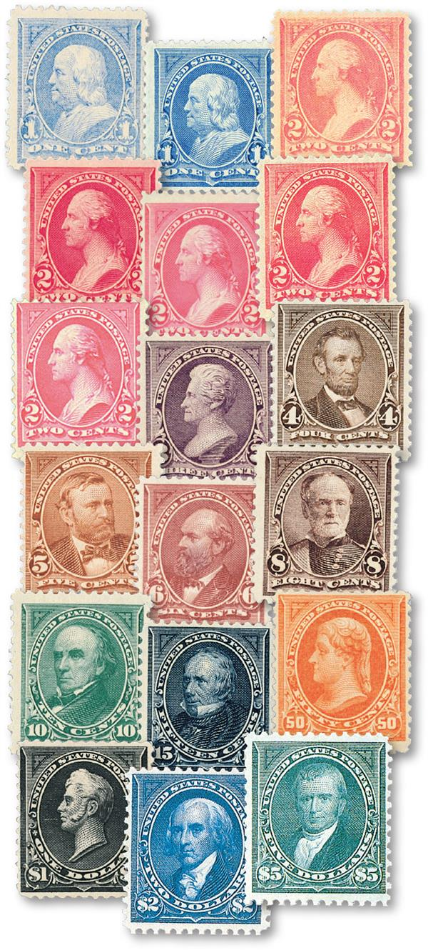 Complete Set, 1894 Bureau Issues, unwatermarked