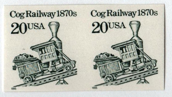 1995 20c Cog Railway, coil, imperf pair